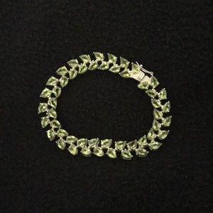 """Jewelry - STERLING 18.50 ct tw PERIDOT 7 1/4"""" BRACELET"""